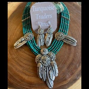 Navajo Turquoise & Sterling Beaded Feather Concho